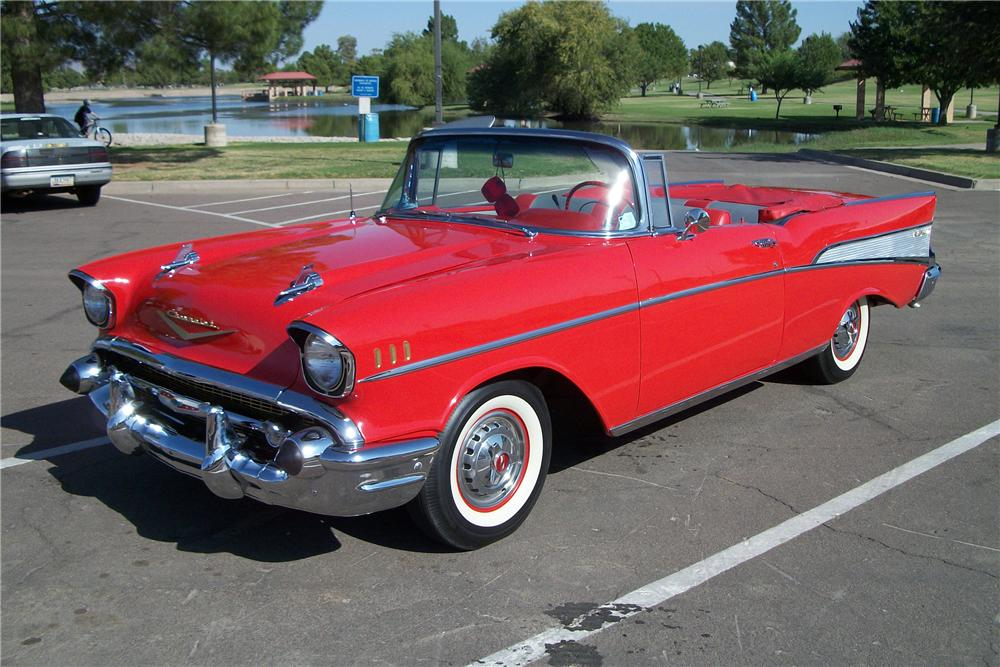 1957 CHEVROLET BEL AIR CONVERTIBLE - Front 3/4 - 96320