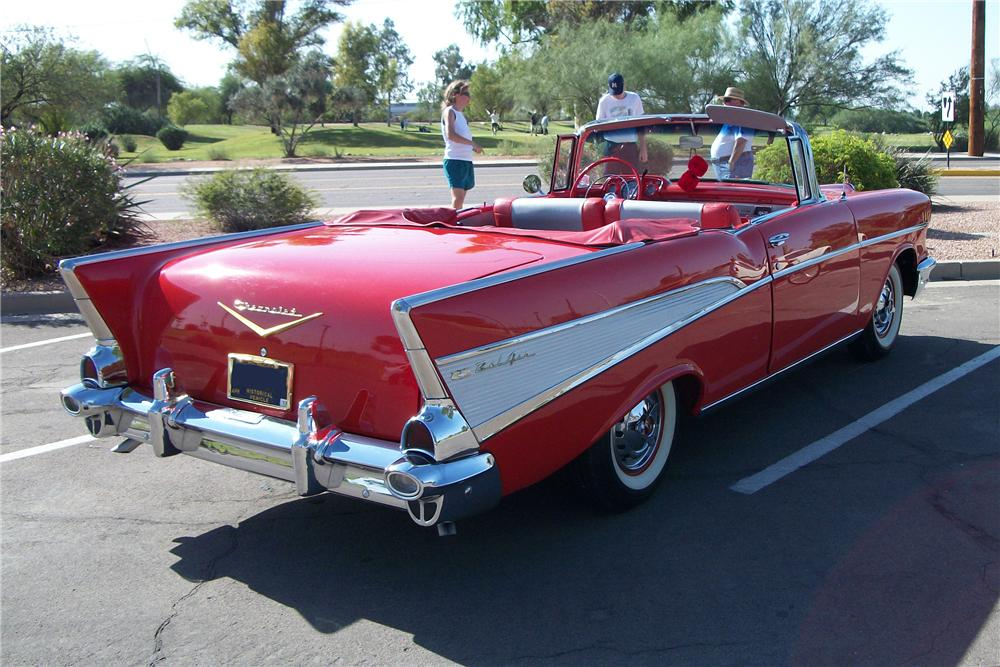 1957 CHEVROLET BEL AIR CONVERTIBLE - Rear 3/4 - 96320