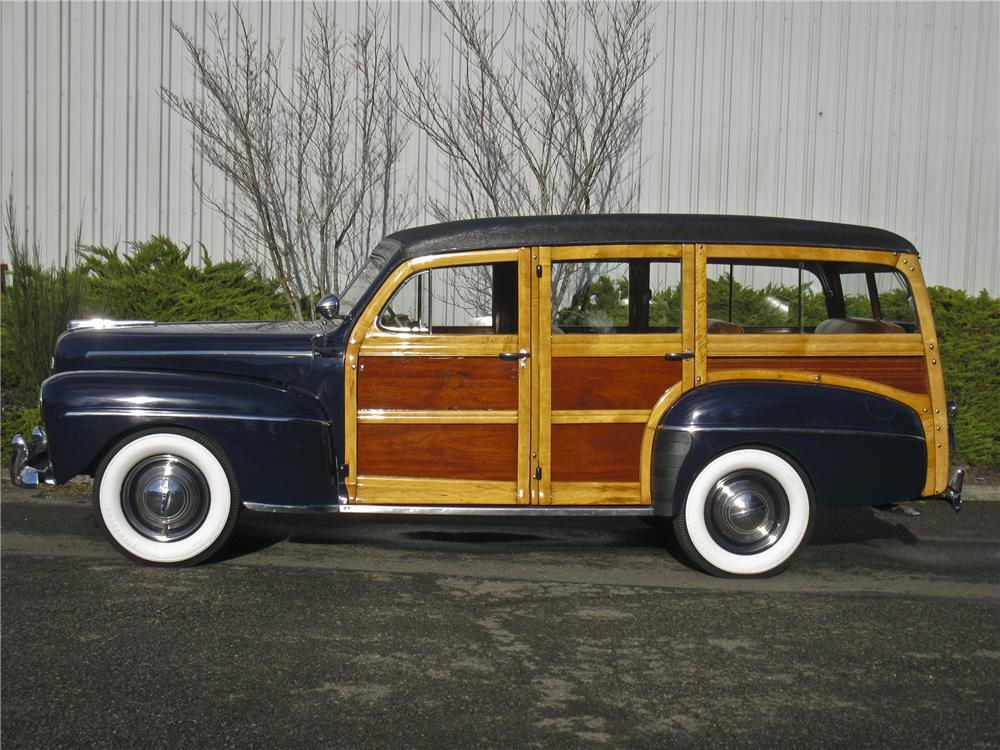 1948 FORD SUPER DELUXE WOODY WAGON - Side Profile - 96682