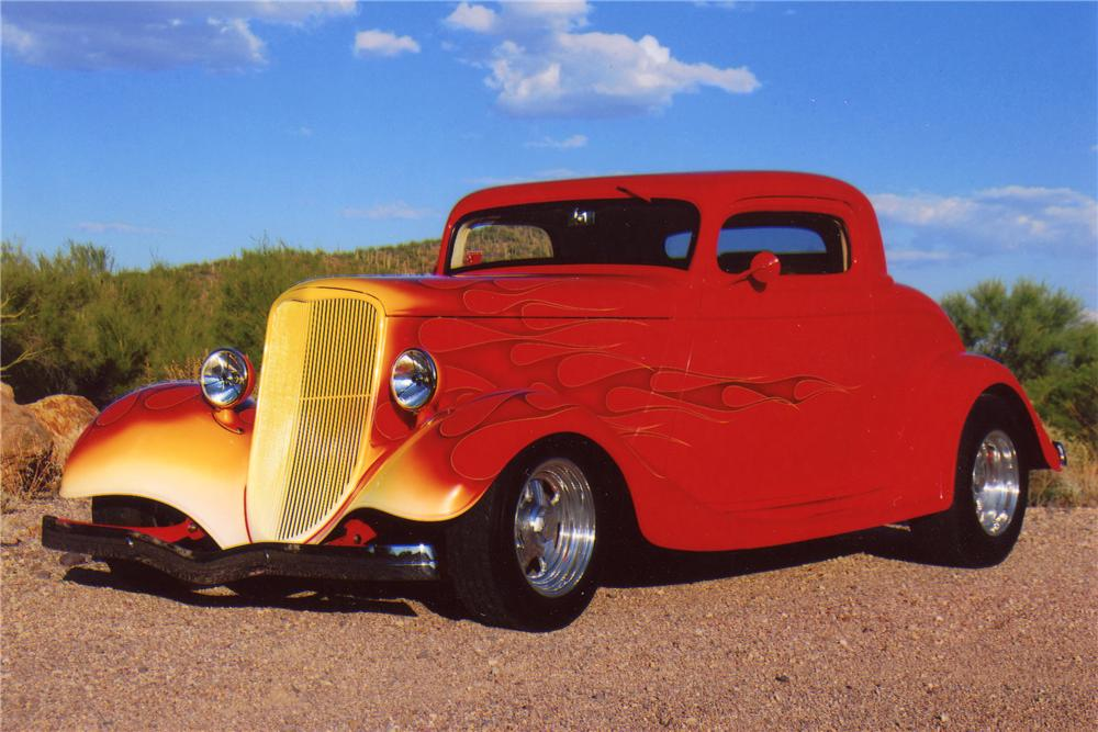 1933 FORD 3 WINDOW CUSTOM COUPE - Front 3/4 - 96708