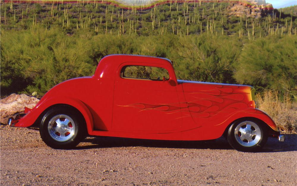 1933 FORD 3 WINDOW CUSTOM COUPE - Side Profile - 96708
