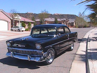 1956 CHEVROLET 210 CUSTOM 2 DOOR HARDTOP - Front 3/4 - 97053