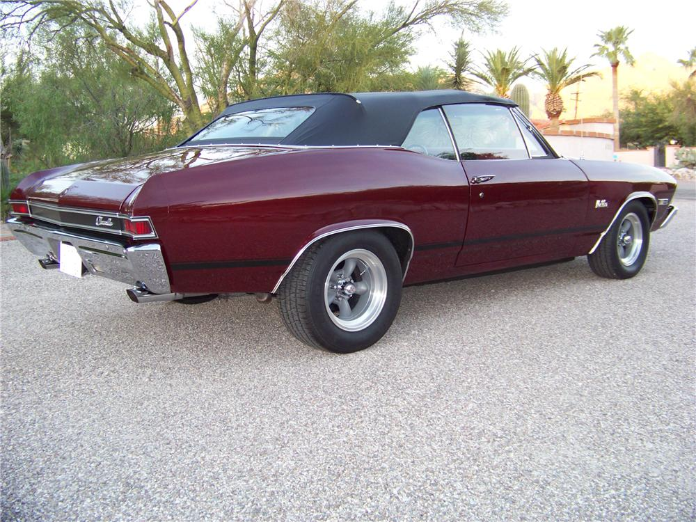 1968 CHEVROLET CHEVELLE MALIBU 2 DOOR CONVERTIBLE - Rear 3/4 - 97213
