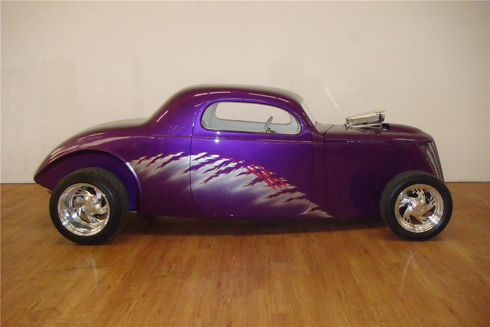 1937 FORD 3 WINDOW CUSTOM COUPE - Side Profile - 97411