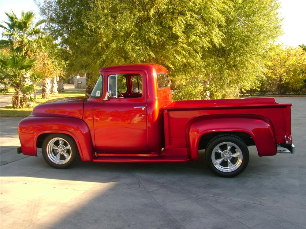 Candy Apple Red Ford Truck 1956 ford f-100 custom pickup - 97532