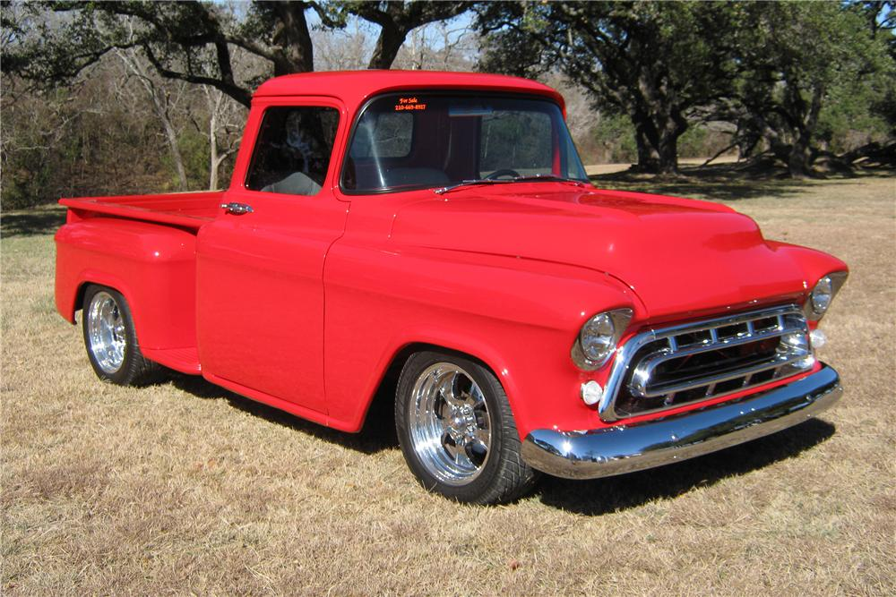 1957 CHEVROLET CUSTOM PICKUP - Front 3/4 - 97562