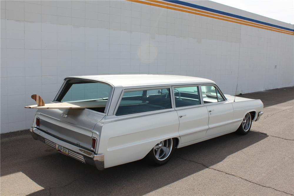 1964 CHEVROLET BISCAYNE CUSTOM WAGON - Rear 3/4 - 98077