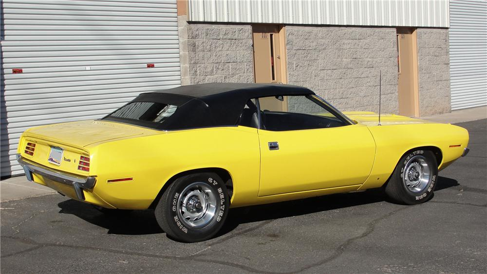 1970 PLYMOUTH BARRACUDA CUSTOM CONVERTIBLE - Rear 3/4 - 98100