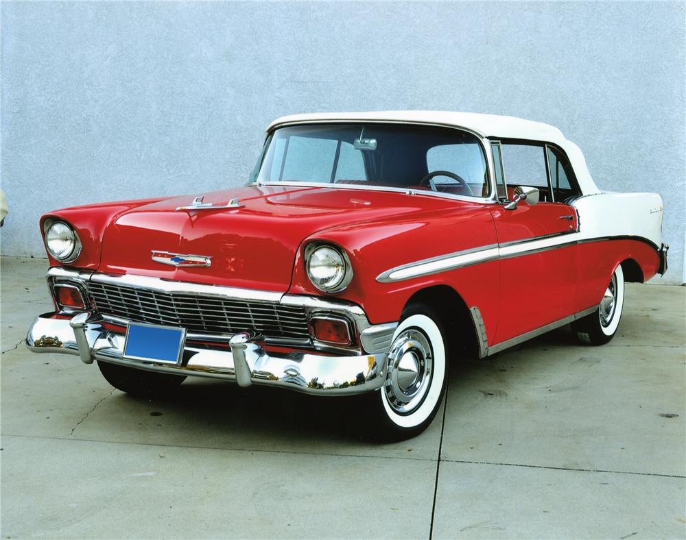 1956 CHEVROLET BEL AIR CUSTOM CONVERTIBLE - Front 3/4 - 98713