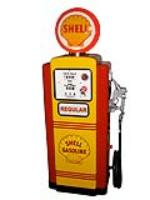 Stellar 1956 Wayne 100 gas pump professionally restored in Shell Oil regalia. - Front 3/4 - 101801