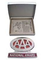 Stupendous 1953 AAA automobile license plate attachment sign found in the original shipping box. - Front 3/4 - 108631