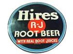 1940s Hire Root Beer single-sided die cut tin sign. - Front 3/4 - 113182