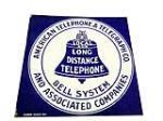 1930s Bell Public Local and Long Distance Telephone porcelain flange sign. - Front 3/4 - 113183