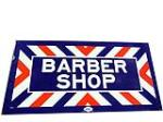 Cool 1940s-50s porcelain Barber Shop flange sign made by the William Marvy Company. - Front 3/4 - 113196