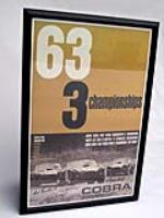 "Second generation print of the ""63 3-Championships"" poster featuring autographs of Carroll Shelby, Bob Bondurant and others. - Front 3/4 - 113265"
