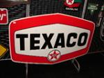 Addendum Item - Unusual late 1950s Texaco Oil single-sided porcelain service station sign. - Front 3/4 - 115015