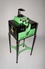 Fantastic 1940-50s Polly Oil AC Spark Plugs restored service station plug cleaner/servicer on stand. - Front 3/4 - 130610