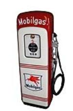 Highly desirable 1940s Mobil Oil M/S 80 restored light-up script top gas pump. - Front 3/4 - 130635
