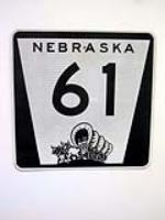 Vintage Nebraska Highway #61 metal road sign with graphics. - Front 3/4 - 130832