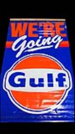"Very neat 1970s ""Were Going Gulf"" service station banner sign. - Front 3/4 - 130845"