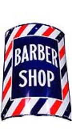 Sharp 1940s Barber Shop single-sided porcelain sign. - Front 3/4 - 130850