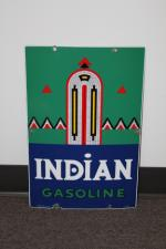Scarce 1940 Texaco Indian Gasoline porcelain pump plate sign. - Front 3/4 - 131734