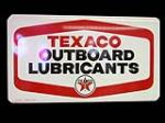 N.O.S. 1966 Texaco Outboard Motor Oil single-sided tin service station sign. - Front 3/4 - 133348