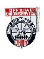 Extremely rare 1930s Union Automobile Club double-sided porcelain garage flange sign. - Front 3/4 - 133372