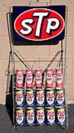 Outstanding 1960s STP Motor Oil automotive garage display rack still full of N.O.S. cans. - Front 3/4 - 133410