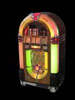 Absolutely stunning professionally restored 1946 Wurlitzer 1015 coin-operated Jukebox with rotating color columns and bubblers. - Front 3/4 - 138527