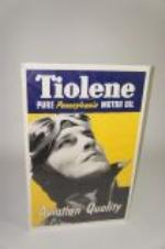 Worthy of bragging rights 1930s Pure Tiolene Aviation Quality Motor Oil poster with period aviator depicted. - Front 3/4 - 138564