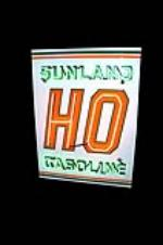 Seldom Seen 1950s Sunland HO Gasoline (of California) single-sided porcelain service station sign.  Clean!  Clean!  Clean!  ... - Front 3/4 - 138699