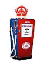 """Extremely rare 1951 Standard Red Crown Gasoline Bowser model #22 """"Siamese Rol-way"""" twin service station gas pump. - Front 3/4 - 138724"""