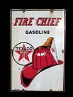Good-looking 1961 Texaco Fire Chief single-sided porcelain pump plate sign with Fire Chief logo. - Front 3/4 - 138892