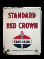 Desirable 1954 Standard Oil Red Crown Gasoline porcelain pump plate sign with flame logo. - Front 3/4 - 138893