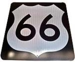 Historically significant N.O.S. U.S. Route 66 metal highway road sign found unused in Flagstaff, Arizona. - Front 3/4 - 138902