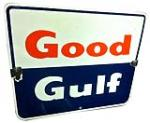 """Choice 1950-60s Gulf Oil """"Good Gulf"""" porcelain pump plate sign. - Front 3/4 - 138909"""