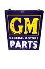 Striking 1940s-50s GM General Motors Parts single-sided neon porcelain dealership sign. - Front 3/4 - 139528