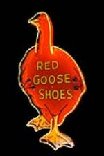 Spectacular 1930s Red Goose Shoes single-sided neon porcelain store sign.  Immensely clean! - Front 3/4 - 139767