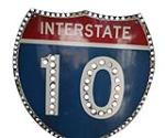 1959 Interstate 10 porcelain road sign with reflectors.  Porcelain is in near mint condition. - Front 3/4 - 139875