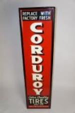 Choice 1930s-40s Corduroy Extra Quality Tires self-framed vertical tin garage sign.  Hard to find version. - Front 3/4 - 151794