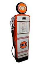 Beautiful late 1940s-50s Gulf Oil Gilbarco restored service station gas pump. - Front 3/4 - 151898