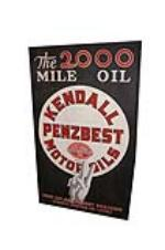"Rare 1930s Kendall Motor Oils ""PenzBest"" single-sided tin painted wood framed automotive garage sign. - Front 3/4 - 151914"