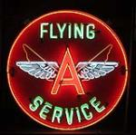 Sharp 1950s restored Flying A Service single-sided porcelain service station sign with animated neon. - Front 3/4 - 151919