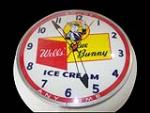 Rare 1950s Wells Blue Bunny Ice Cream light-up soda fountain clock. - Front 3/4 - 151997