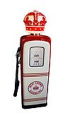 Late 1940s Standard Red Crown Gasoline M-S 80 restored station gas pump with one piece milk glass Crown globe. - Front 3/4 - 154645