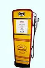 Outstanding late 1940s-50s Shell Oil Gilbarco service station gas pump.  Restored to highest possible standards. - Front 3/4 - 158130