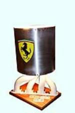 Ferrari lamp with racing side pipes and custom aluminum shade.  Comes with the signatures of: Bob Bondurant, Allan Grant and... - Front 3/4 - 158275