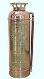 1920s Elkhart Brass Manufacturing filling station brass fire extinguisher.  Polished to day one condition. - Front 3/4 - 158328