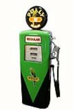 "Good looking 1950's Polly Oil Erie mfg ""Regular"" restored service station gas pump. - Front 3/4 - 162641"